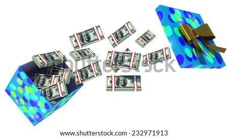 close up shot of gift box full of dollar bills isolated on white - stock photo