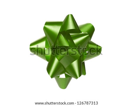 Close-up shot of green Christmas gift bow over white background. - stock photo