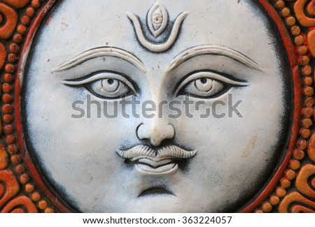 Close up shot of lord Shiva's statue - stock photo