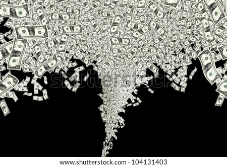 close up shot of many one American dollar in black background - stock photo