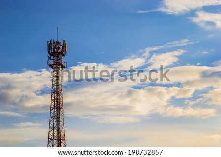 Close up shot of Phone tower antenna & Beutiful Cloud - stock photo