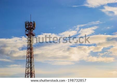 Close up shot of Phone tower antenna & Beutiful Cloud - stock photo