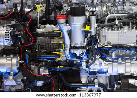 Close up shot of powerful diesel engine - stock photo