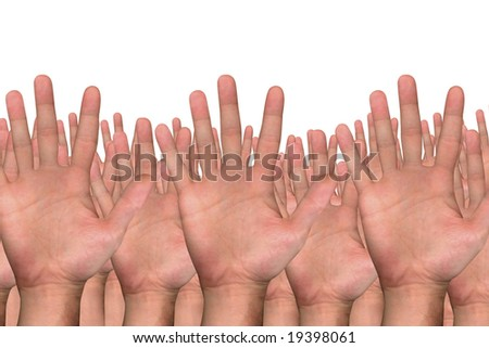 close up shot of several hands on white background - stock photo