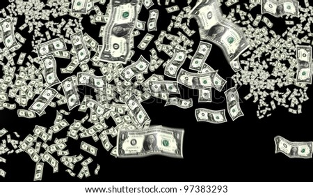 close up shot of several one American dollar - stock photo