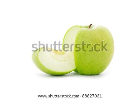 close up shot of sliced green apple isolated on white background - stock photo