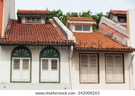 Close up shot of some colorful historic architecture - Shop houses in Singapore Joo Chiat area. - stock photo