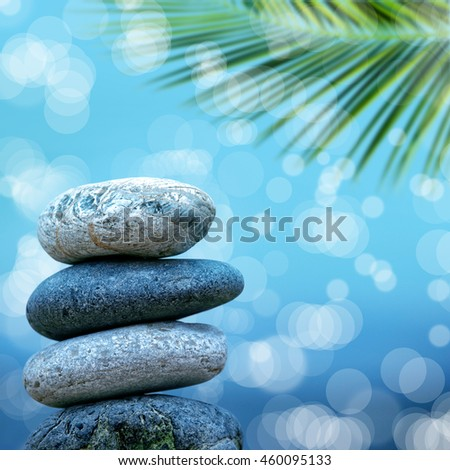 close up shot of stone pile on beach - stock photo