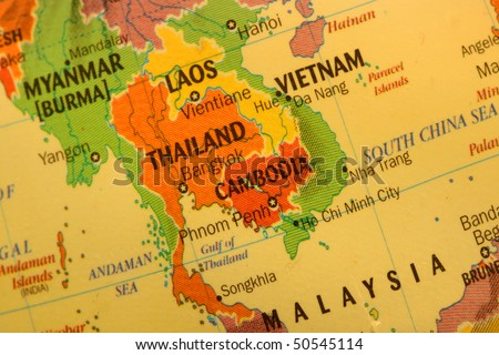 Close up shot of Thai land map on the globe - stock photo