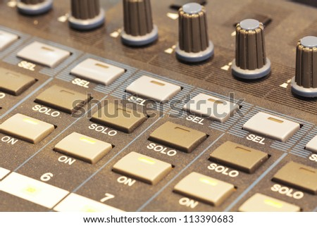close up shot of volume control board - stock photo