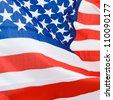 Close-up shot of wavy american flag. - stock photo