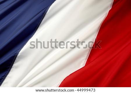 Close up shot of wavy French flag - stock photo