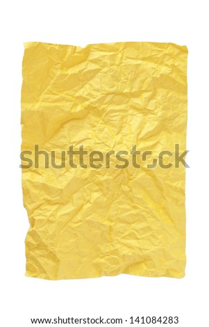 Close-up shot of Yellow crumpled paper - stock photo