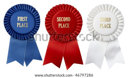 Close up shots of first, second and third place ribbons shot on white background - stock photo