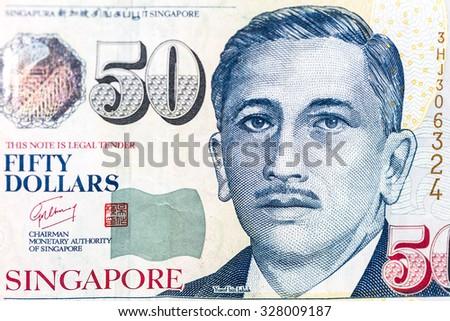 close up 50  singapore money  - stock photo