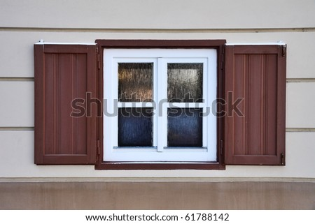 close-up singl wood old window in winter - stock photo