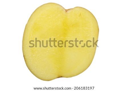 close - up small new and fresh raw potato  - stock photo