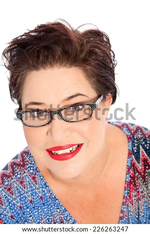 Close up Smiling Short Hair Middle Age Fat Woman Wearing Eyeglasses, Looking at the Camera. Isolated on White Background. - stock photo