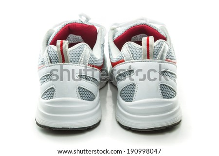Close up sneakers isolated on white background - stock photo