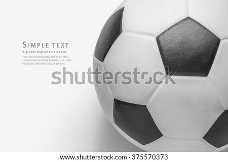 close up soccer ball on white background, clipping path - stock photo