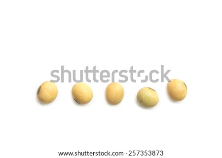Close up soybeans isolated on white background - stock photo