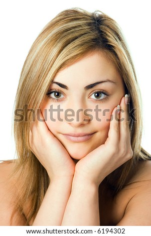 close-up spa  beauty woman portrait hold palm of hand cheek over white background - stock photo