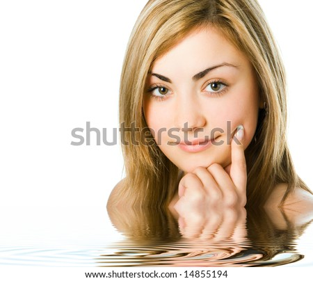 close-up spa girl portrait hold finger cheek in water - stock photo
