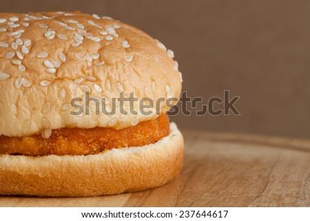 Close up Spicy chicken hamburger - stock photo