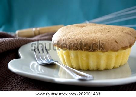 close up sponge butter cake on dish - stock photo