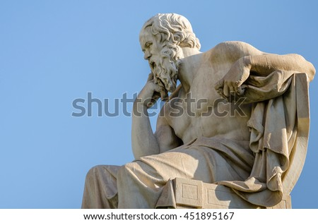 Close Up Statue of the Philosopher Socrates - stock photo