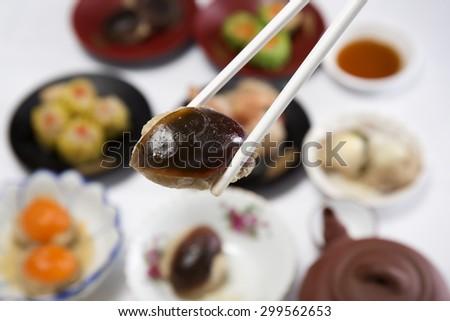 Close up stream Dim Sum chinese food / Cooking Dim sum concept - stock photo