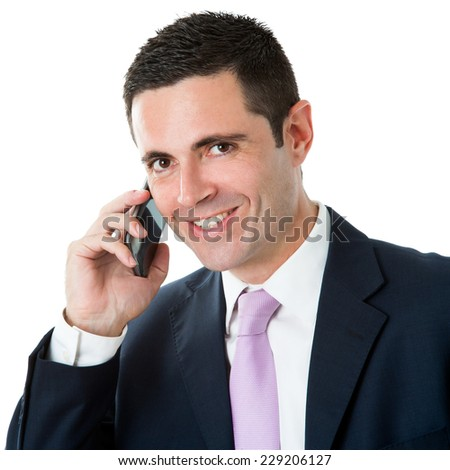 Close up studio Portrait of Attractive businessman in suit talking on smart phone.Isolated on white background. - stock photo