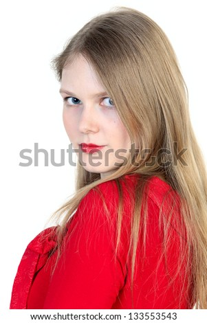 Close up studio portrait of beautiful young woman in red - stock photo