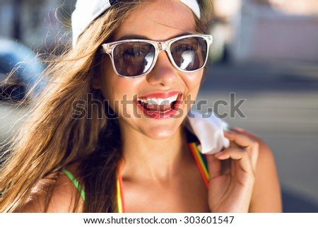 Close up sunny fashion portrait of pretty young woman stunning smile, bright close, long brunette hairs, joy, emotions, happiness. - stock photo
