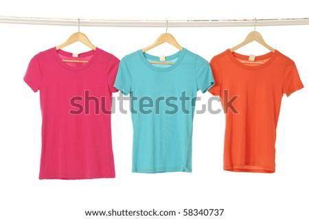 Close up Tee Shirts display - stock photo