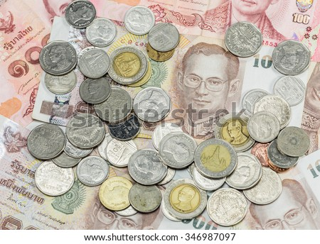 close-up Thai Baht Coins background. Thailand money - stock photo