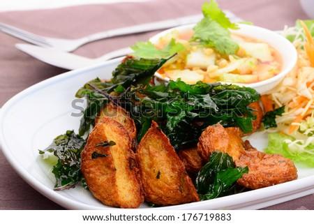 close up Thai Food name Fried Fish Cake (Tod Mun Pla) - stock photo