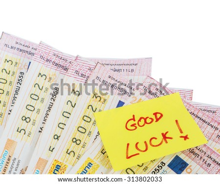 Close up Thai lottery tickets and  memo, isolated - stock photo