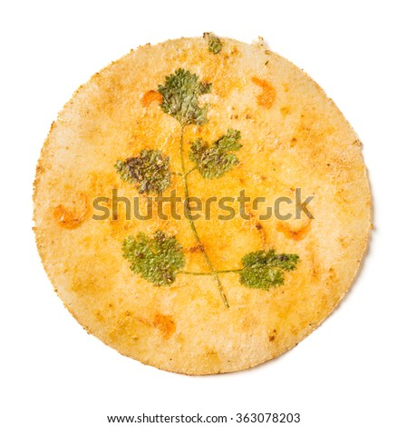 Close up Thai old traditional style shripm flavor rice crust with coriander - stock photo
