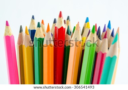 Close up the colored pencils on white background - stock photo