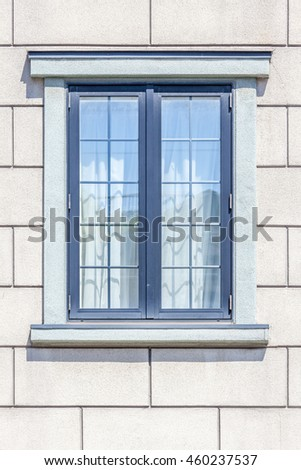 Close up the modern window frame on white brick wall background. - stock photo