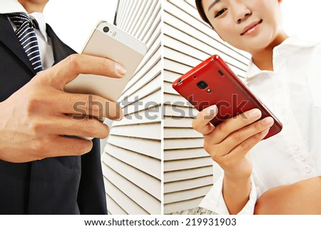 Close-up, the use of mobile smartphone - stock photo
