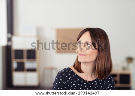 Close up Thoughtful Office Woman Looking Up with Smiling Face, Emphasizing of Thinking Something Good. - stock photo