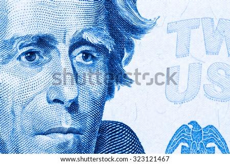 Close up to Andrew Jackson portrait on twenty dollar bill. Toned. - stock photo