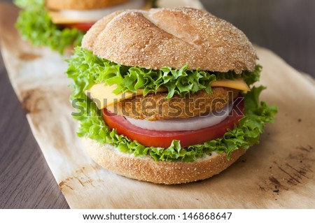 Close up to fish burger with fresh organic vegetables  - stock photo