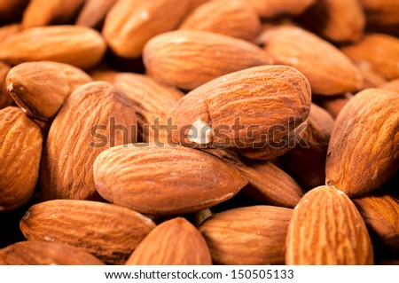 Close up to raw almonds  - stock photo