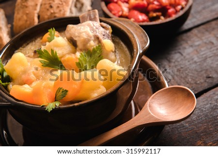 Close up to stew soup with beef ribs,selective focus  - stock photo