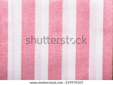 close up to striped linen fabric background - stock photo