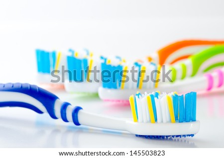 Close up toothbrush isolated - stock photo