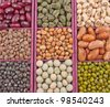 close up top view of panel of seeds of pulses - stock photo
